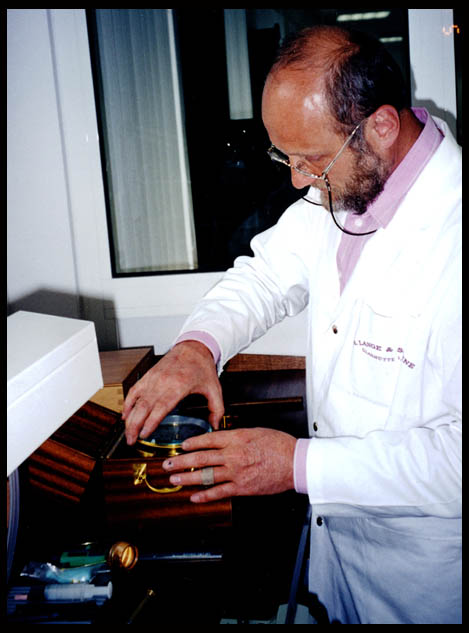 Herr Lang, seen with a recently restored example of a Marine Chronometer by Lange.