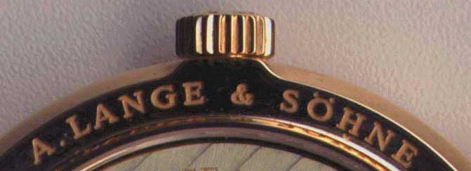 Lange Logo, taken from Lange 1 case back. Direct scanned image